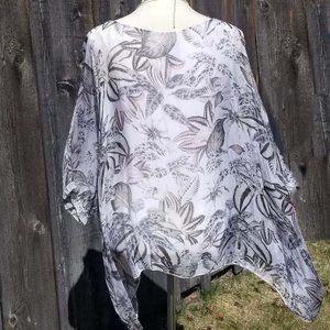 Le Marais Made in Italy Silk Floral Tunic EUC M